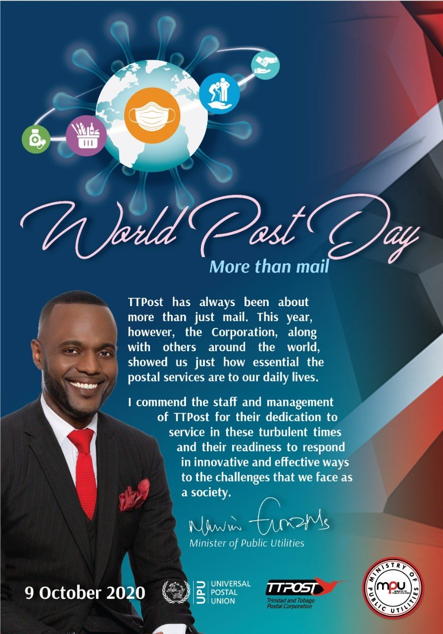 The Honourable Marvin Gonzales Minister Of Public Utilities World Post Day Message